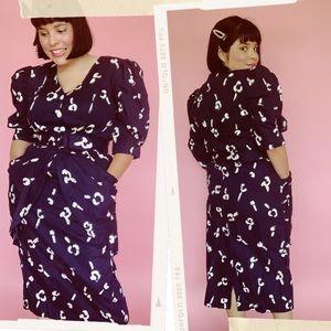 Vtg 80s Choon Abstract Peplum Button Wiggle Dress